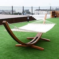 Costway 161'' Wooden Curved Arc Hammock Stand W/ Hammocksize Outdoor Patio Garden Swing