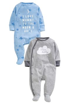 Buy Two Pack Blue Cloud Mum And Dad Sleepsuits (0mths-2yrs) from the Next UK online shop