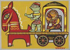 Untitled (Lady in Carriage)-Jamini Roy Madhubani Art, Madhubani Painting, Kalamkari Painting, Indian Folk Art, Indian Artist, Phad Painting, Bengali Art, Jamini Roy, Indian Arts And Crafts
