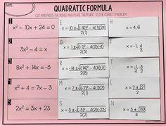Free Quadratic Formula Activity: Mrs Newells Math