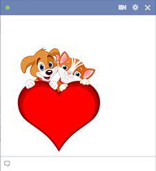 Nagy szív cica és kutya