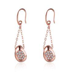 Environmental Rose Gold Czech Diamond Pendant Earrings
