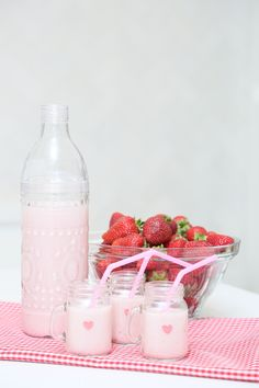 How To Make Delicious Strawberry Almond Milk - Coco & Cowe Raspberry, Strawberry, Pink Milk, Almond Milk, Fruit, How To Make, Food, Meal, The Fruit