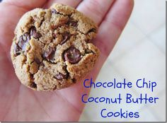 chocolate chip coconut butter cookies made with almond flour and coconut flour and maple syrup