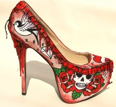 'Tattoo style' Zombie Flesh Heels by NixxiRose - Love these