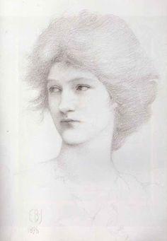 Sir Edward Coley Burne-Jones (1833-1898), Portrait study of Olive Maxse - 1896