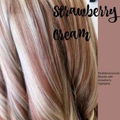 Strawberry Creme color. Love the blonde with strawberry red peek a boo highlights!