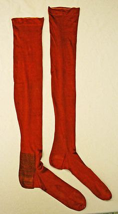 Stockings, American, ca. Antique Christmas, Primitive Christmas, 1890s Fashion, Vintage Stockings, Old Shoes, Historical Clothing, Antique Clothing, Shades Of Red, Christmas Stockings