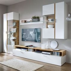 17 Neutral Living Room Cabinets Storage Ideas That You Will Love The challenging aspects of living room decor is choosing audio and media storage cabinets that mesh with the aesthetic of the room while keeping the contents organized. Bedroom Wall Units, Living Room Wall Units, Living Room Cabinets, Living Room Storage, Home Living Room, Ikea Wall Units, Kitchen Living, Living Area, Modern Tv Wall Units