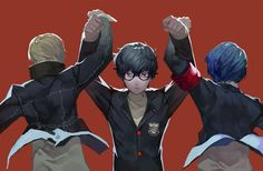 Persona 3 and 4 protagonist with the new Persona 5 protagonist