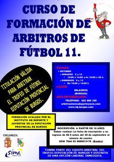 5, 6,12 y 13 de octubre. Curso de Formación de Árbitros de Futbol11  Milagros Burgos Inscripción antes del 25/09