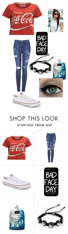 """Untitled #333"" by mara-cece ❤ liked on Polyvore featuring Topshop, Converse, Local Heroes, JanSport and CO"