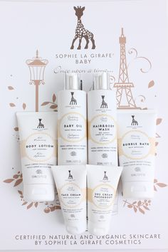 Sophie la girafe added to our collection. An Organic Skincare line for baby- and. - List of the most beautiful baby products Skincare Packaging, Beauty Packaging, Cosmetic Packaging, Packaging Design, Kids Packaging, Baby Oil Hair, Organic Skin Care Lines, Natural Toothpaste, Baby Skin Care