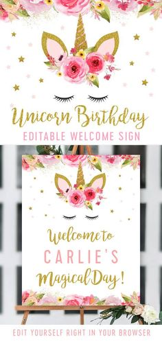 Editable Unicorn Birthday Party Welcome Sign – Pink Gold Glitter – Printable – Personalize Instantly #GlitterParty