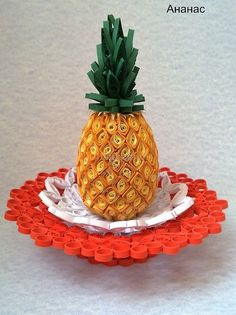 A pineapple lends itself to quilling Paper Quilling Tutorial, Quilled Paper Art, Paper Quilling Designs, Quilling Paper Craft, Quilling Patterns, Paper Crafts, Neli Quilling, Quilled Creations, Quilling Techniques