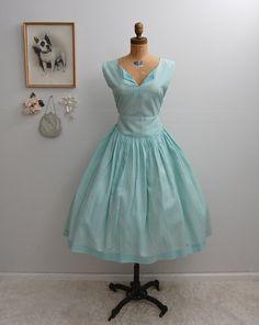 Vintage 50s 1950s Seafoam Cotton Dress - Size Large - on Etsy, $60.00