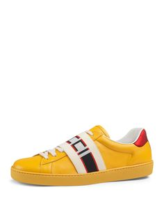 bb25ef4312f GUCCI MEN'S NEW ACE BANDED LEATHER LOW-TOP SNEAKERS. #gucci #shoes #