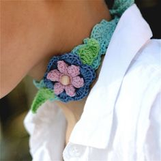 Crochet Headband or Choker with Flower and by PatternsbyMarianneS, $3.75