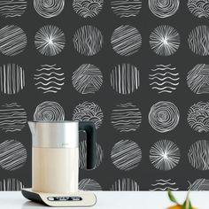 Sketch circles removable wallpaper / cute self adhesive