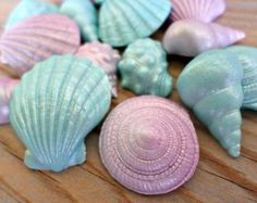 Mermaid Fondant Edible Shells Favor Cake Cupcake Topper Beach Summer Wedding Decor Under the Sea Birthday Baby Bridal Shower Party - set 40