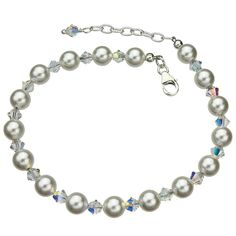 Swarovski Elements Crystals and Simulated Pearls Sterling Silver Anklet, 9' 1'…