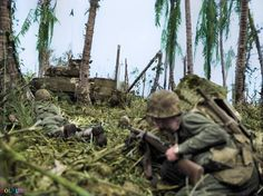 The Battle of Peleliu, codenamed 'Operation Stalemate II' Marines covered by a USMC M4A2(75) Sherman tank # A10 of Company 'A' 1st Tank Battalion, move cautiously forward during an assault on a Japanese bunker, on the island of Peleliu in the Pacific Ocean. 15-23rd September 1944.