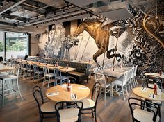 Beef & Liberty - Beef & Liberty is a restaurant in Hong Kong, which recently underwent a bit of a facelift regarding the interior. The artist Cyrcle was brought. Best Picture For Restaurant interieu Design Bar Restaurant, Deco Restaurant, Restaurant Seating, Burger Restaurant, Industrial Restaurant, Luxury Restaurant, Industrial House, Restaurant Interiors, Industrial Lighting