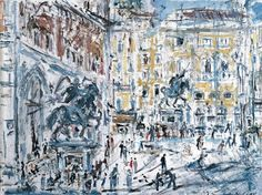 """Filippo De Pisis, (Italian, 1896 – 1956) - """"Piazza Cavalli a Piacenza"""", 1937 - Oil on canvas"""