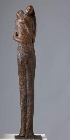 The Embrace | Paper Mache Sculpture, Pottery Sculpture, Sculpture Art, Modern Sculpture, Abstract Sculpture, Bob Quinn, Pottery Angels, Alberto Giacometti, The Embrace