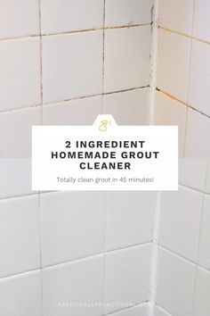 This is the BEST homemade grout cleaner! It's just baking soda and bleach and gets your dirty grout white again in under an hour! #WhatIsBakingSodaUsedForInCleaning Shower Grout Cleaner, Clean Shower Grout, Best Grout Cleaner, Homemade Grout Cleaner, Cleaners Homemade, Oven Cleaner, Cleaning Mold, Bathroom Cleaning Hacks, Cleaning Recipes
