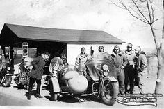 Harley Davidsons with Side car on tour 1937
