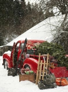 Vintage red truck filled with a Christmas tree and everything for a home style Christmas.