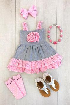 LITTLE LONDYN PINK & GRAY RUFFLE DRESS