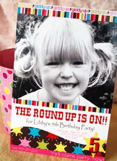 Cowgirl Birthday Invitation with photo, Pink Western Round Up Party, Custom and Printable. $15.00, via Etsy.