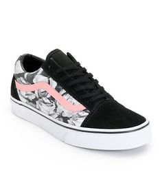 Vans Girls Old Skool Digi Rose Black Shoe