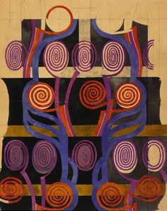 Charles Rennie Mackintosh, drawing for textile design: orange and purple spirals, 1915-23.  © The Hunterian Museum and Art Gallery, University of Glasgow