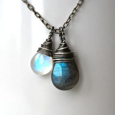 Dark Side of the Moon Labradorite and Moonstone Necklace <3