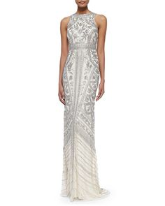Theia by Don O'Neill Sleeveless Beaded-Pattern Gown (for Greer)
