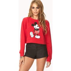 FOREVER 21 Mickey Mouse Cropped Sweatshirt ($14) ❤ liked on Polyvore featuring tops, hoodies, sweatshirts, outfits, models, shirts, lightweight long sleeve shirt, red shirt, long sleeve shirts and long sleeve crop top
