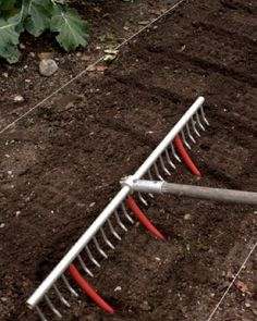 Attach tubing to rake prongs to create even planting rows.
