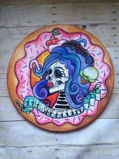 Sugar Skull - Skull Decor- Tattoo Art - Donut Party - Candy Buffet - Sweet Shop Birthday - Ice Cream Party - Wall Decor - Wood Sign by Drankthepaint on Etsy https://www.etsy.com/listing/287237257/sugar-skull-skull-decor-tattoo-art-donut