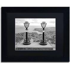 Trademark Fine Art Tower Viewers BW Canvas Art by Preston Black Mat, Black Frame, Size: 16 x 20