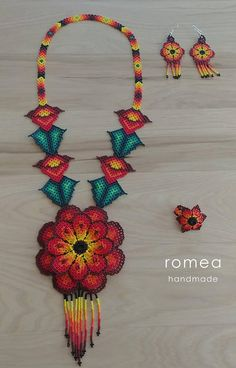 SET Necklace, Ring, Earrings 3 D Flower - Huichol Art - Beaded Necklaces - Romea Accessories - Made in Mexico - Boho - Trendy - Crochet Necklace, Beaded Necklace, Japanese Patchwork, Flower Bracelet, Crochet Accessories, Beaded Flowers, Bead Art, Beaded Embroidery, Beading Patterns