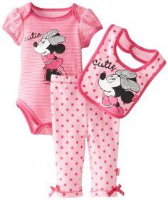 Disney Baby Baby-Girls Newborn Minnie Creeper Pant Bib Layette Pink - List price: $11.99 Price: $7.99