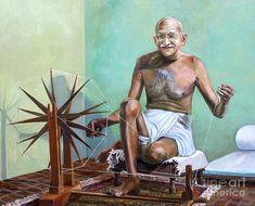 Mahatma Gandhi Spinning, portrait painting by Dominique Amendola. Osho, Dalai Lama, Mahatma Gandhi Photos, Gandhi Quotes, Mahtma Gandhi, Gandhi Life, Indira Gandhi, William Shakespeare Frases, Bruce Lee Quotes