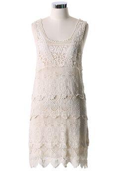 Multi-Layer Floral Crochet Dress - Floral - Dress - Retro, Indie and Unique Fashion