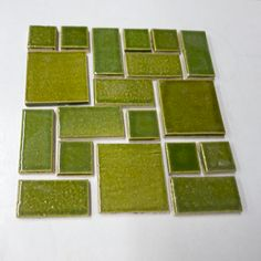 Savvy Squares Olive Green handmade tile from Mercury Mosaics for $70.00