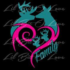 Buck & Doe Heart Deer Family Vinyl Decal Sticker Customize to match your family - Decals, Stickers & Vinyl Art