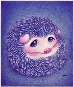purple hedgehog | cute, hedgehog, illustration, purple, super cute, violet - inspiring ...