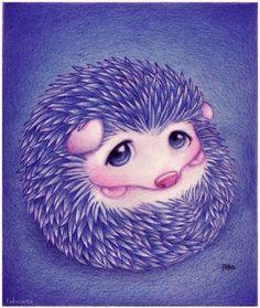 purple hedgehog | cute, hedgehog, illustration, purple, super cute, violet - inspiring ...